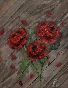 roses painting on Wooden canva