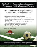 Fossil Football League, Indoor Soccer for 40+ Woman