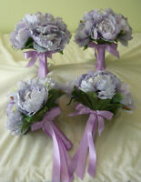 4 Soft Purple Colour Bridesmaids Wedding Bouquet Of Flowers.