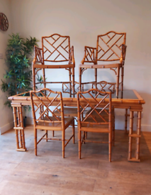 Vintage faux bamboo chippendale dining table and 6 chairs