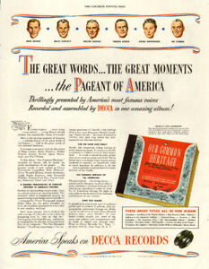 1947 full-page magazine ad for Decca Pageant of America Album