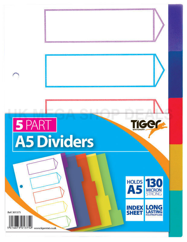 Tiger A5 5 part plastic dividers with index cover sheet