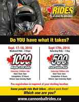 Cannonball Rides Sept 17th, 18th - DO YOU HAVE WHAT IT TAKES?