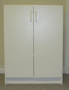 Two White Storage Cabinets