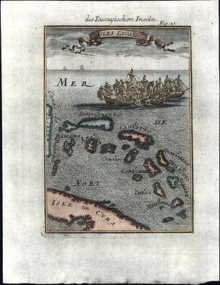 Lucayos British West Indies Bahamas islands1719 charming antique engraved map