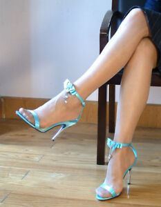 Metallic Heel Sandals AV-LOVE9 Baby Blue Satin