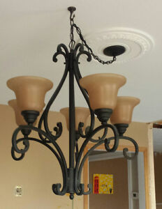 5 light Chandelier 23 in. - Aged Black with Glass Shades