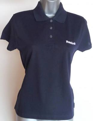2bc0a053f63 WOMENS POLO SHIRT, REEBOK, SEMI FITTED POLO SHIRT, TENNIS SHIRT, NAVY, UK 12