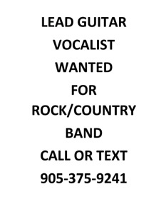 Lead Guitar/Vocalist Wanted For Band