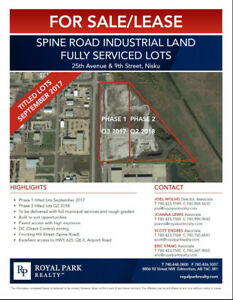 Spine Road Industrial Land Fully Serviced Lots for Sale/Lease
