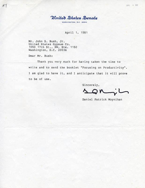 SENATOR DANIEL PATRICK MOYNIHAN - TYPED LETTER SIGNED 04/01/1981