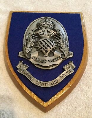 Authentic Central Scotland Police (United Kingdom) Wooden Wall Plaque