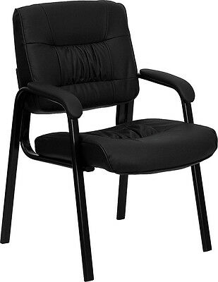 12 Black Leather Guest Office Desk Side Chairs New