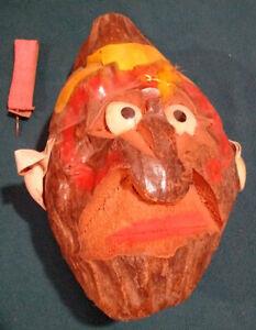 Tiki Bar Decor Coconut head -carved folk art vintage Hawaii