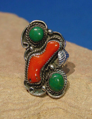 Navajo Ring with Two deep green  turquoise and one coral settings, Size 8 1/2