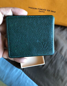 Authentic Louis Vuitton Taiga Leather Foldable Coin Purse