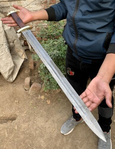 32.0 BEAUTIFUL CUSTOM HANDMADE DAMASCUS STEEL HUNTING SWORD WITH SHEATH