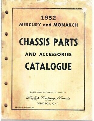 VINTAGE Ford Mercury And Monarch Chassis Parts Accessories Catalog 1952