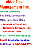 Pest control services- Cambridge, Kitchener, Waterloo, Brantford