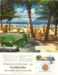 1951 authentic full-page (10 ½ x 13 ½ ) magazine ad for Gulf Oil