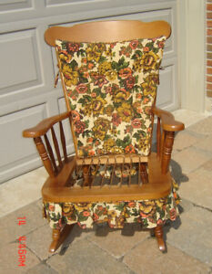 Vintage Solid Rock Maple Wood Rocking Chair - Made in Canada