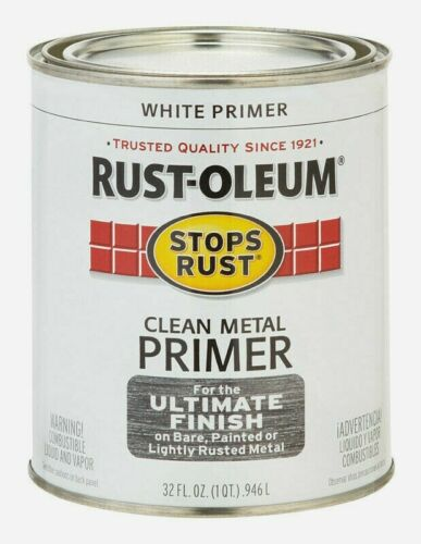 Rust-Oleum WHITE PRIMER 1 qt Stops Rust CLEAN METAL Alkyd Oil-Based 7780-502 NEW