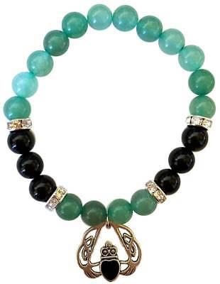 (Aventurine & Onyx 8mm Beaded Power Bracelet & Celtic Irish Heart Claddagh Charm)