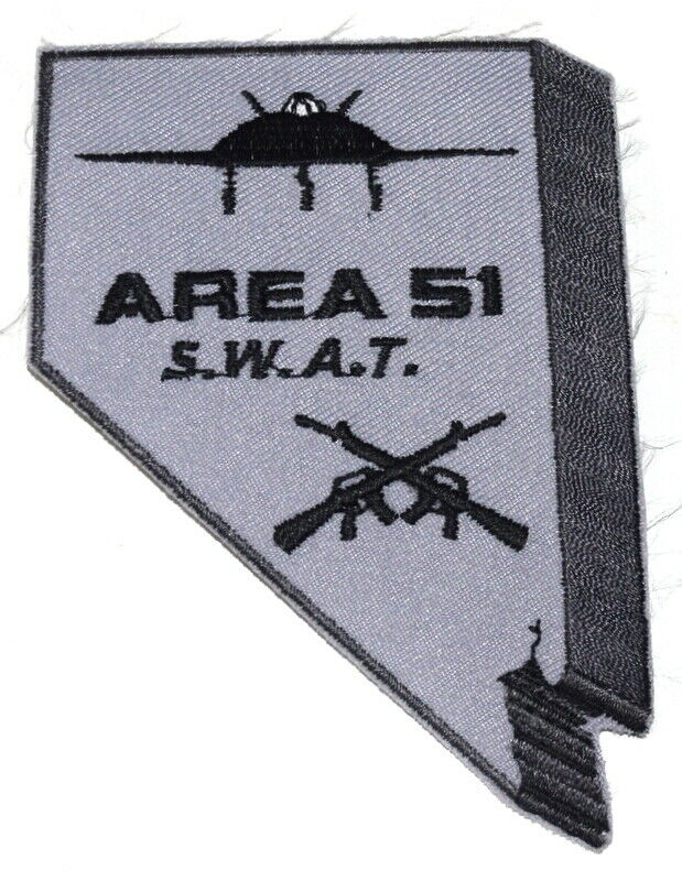 AREA 51 – SWAT – NEVADA NV Sheriff Police Patch – STATE SHAPE – SUBDUED RIFLE ~