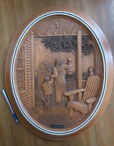 """""""Late at night"""" original carved wood picture by Kim Murray"""