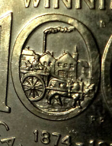 1974 CANADIAN ONE DOLLAR COIN Double-Yoke Error Winnipeg Nickel Silver OXCART MISSTAMPING Collectible $1 Canada 3x