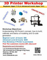 3D Printer Workshop (Ages 7 and up)