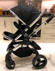 Icandy peach 3 pram pushchair black pink footmuff buggy stroller baby