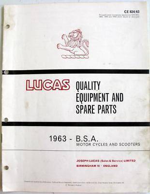 Lucas BSA Electrics 1963 Motorcycle Equipment & Spare Parts CE 824/63