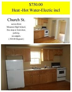 church st , ht, htw,electric incl ,quiet unit