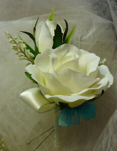 5 Piece Teal/Turquoise & White Wedding Bouquet Flower Package. London Ontario image 6