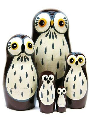 Barn Owls 5-Piece Bird Animal Stacking Toy Babushka Matryoshka Nesting Dolls (Matryoshka 5 Piece)