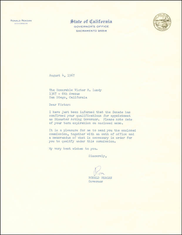 RONALD REAGAN - TYPED LETTER SIGNED 08/04/1967