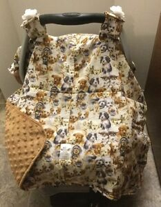 Car Seat Canopy - Puppies print - New - Custom Made