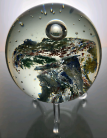 Colourful art glass paperweight.