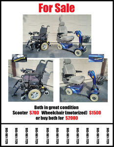 Scooter $700 Wheelchair $1500 or 2k for both