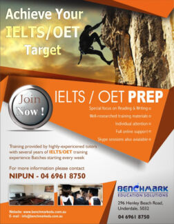 IELTS / OET Coaching in Adelaide  - BENCHMARK EDUCATION SOLUTIONS Underdale West Torrens Area Preview