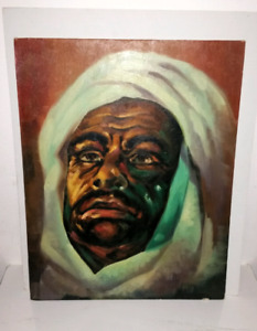 Mid century painting of a man wearing a headdress