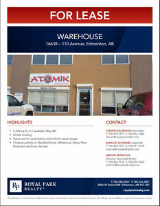 West Edmonton Warehouse for Lease