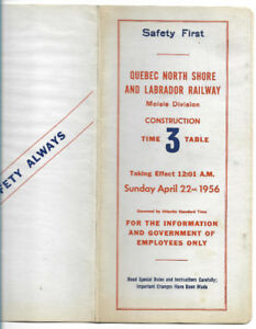 Quebec North Shore & Labrador Railway time table 3  1956