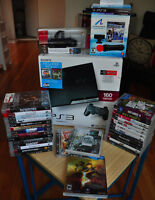 PS3 Slim, Move kit, 3 Controllers, Remote, 29 Games