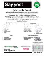 Job Leads Event: Thursday, May 4th from 1-3pm