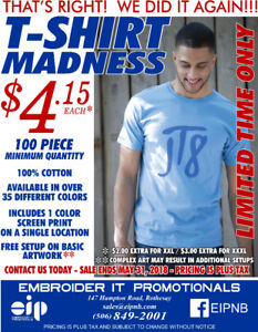 T-Shirt SPECIAL - 100 Shirts w/ 1 Color Imprint for ONLY $4.15