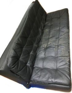 Black Leather Futon/Couch - Reupholstery Needed