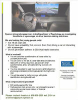 MALES AGES 16-25: PARTICIPATE IN DRIVING RESEARCH AT RYERSON