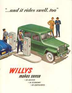 1950 full-page color magazine ad for Willys Trucks